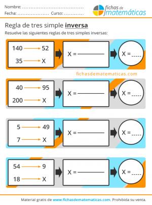 ejercicios de regla de tres para primaria