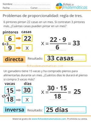 problemas de regla de 3 con soluciones