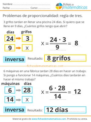 problemas de regla de tres inversa resueltos