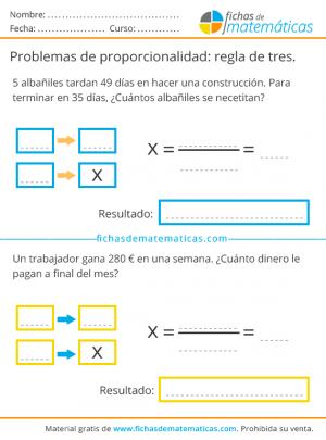 regla de tres problemas para imprimir