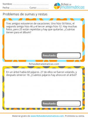 ejercicios de problemas con sumas y restas para imprimir