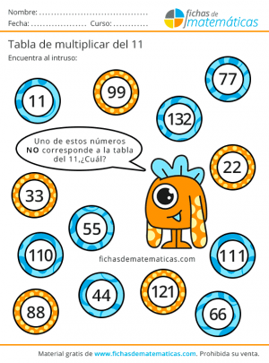 aprender la tabla del 11
