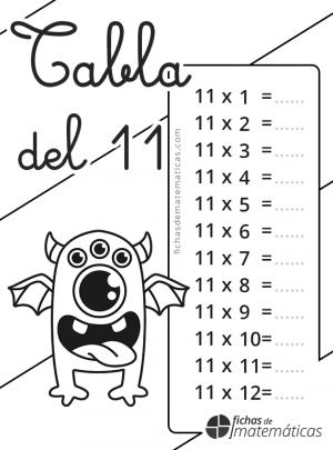 colorear tabla de multiplicar del 11