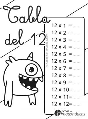colorear tabla de multiplicar del 12