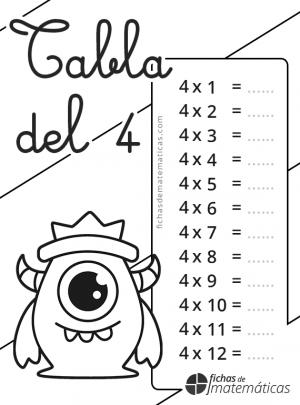 colorear la tabla de multiplicar 4