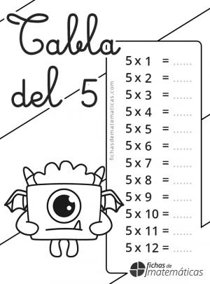 colorear la tabla del 5