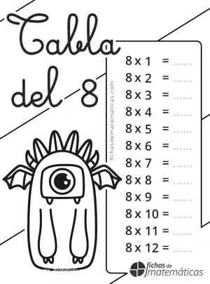 colorear tabla multiplicar del 8