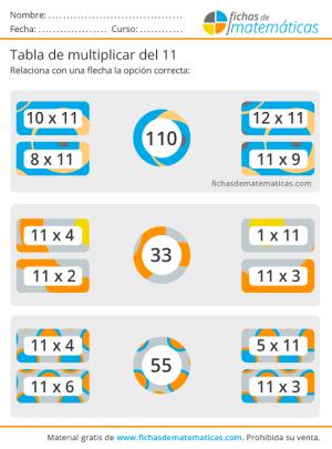ejercicios de multiplicar por 11
