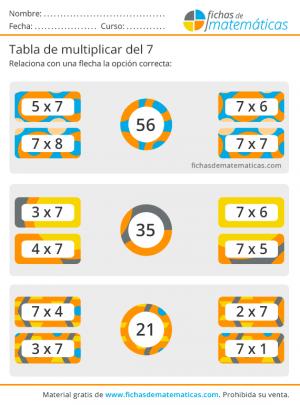 ejercicios para la tabla de multiplicar del 7