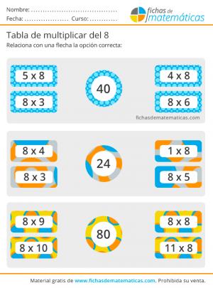 ejercicios tabla del 8