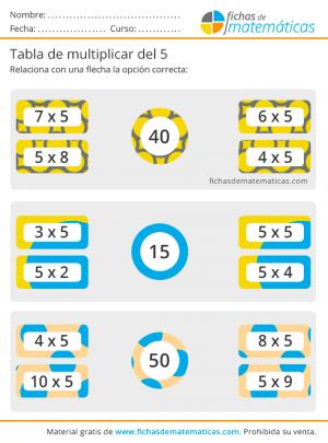 ejercicios de las tablas de multiplicar cinco