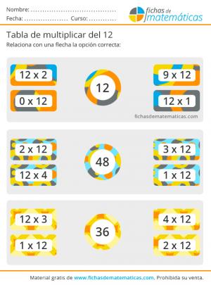 imprimir ejercicios de la tabla12