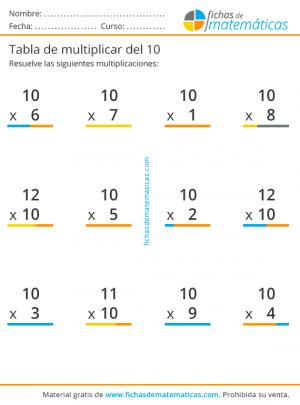 multiplicaciones de la tabla del 10