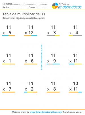 multiplicaciones tabla del 11