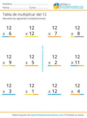 multiplicaciones tabla del 12