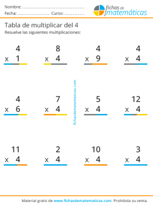 multiplicaciones tabla del 4