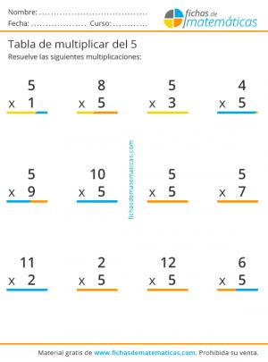 multiplicaciones tabla del 5