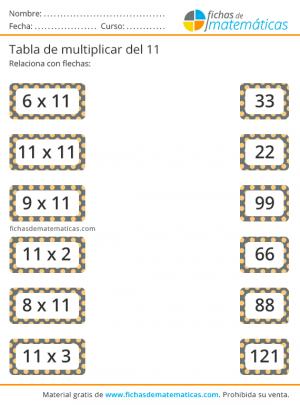 relacionar con flechas tabla del 11