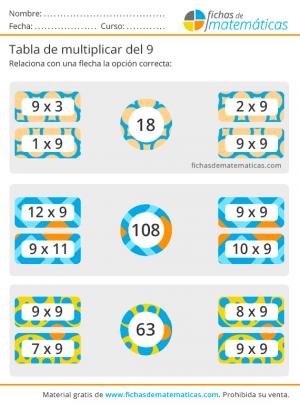actividades para imprimir de la tabla del 9