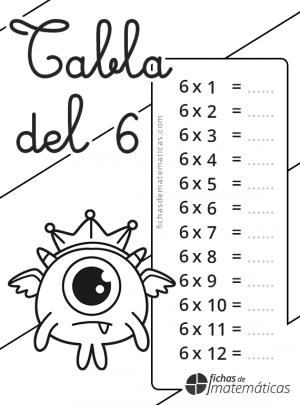 colorear tabla de multiplicar del 6