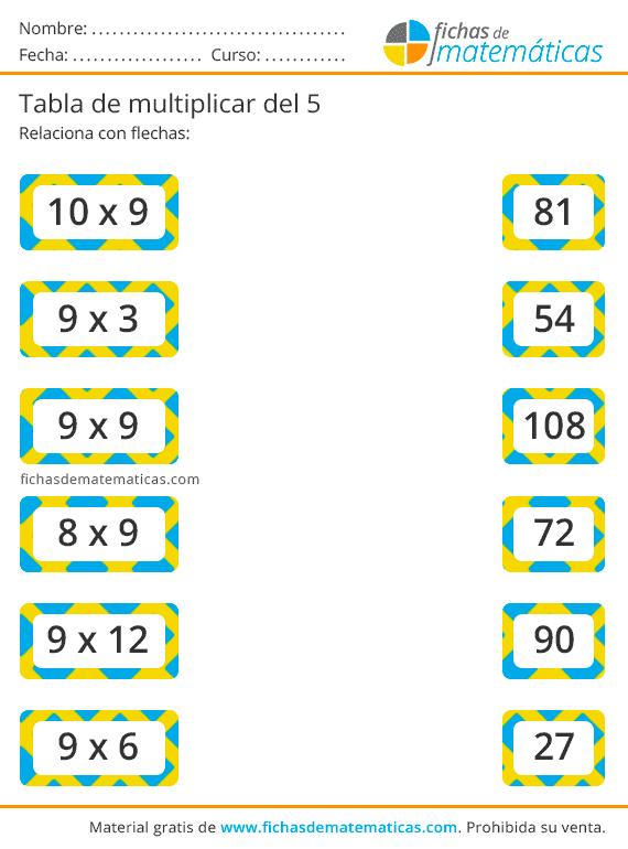 ejercicios tabla del 9 gratis para imprimir