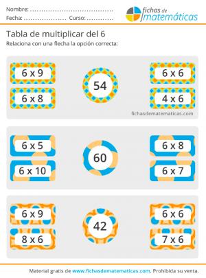 ejercicios de la tabla del 6 para imprimir