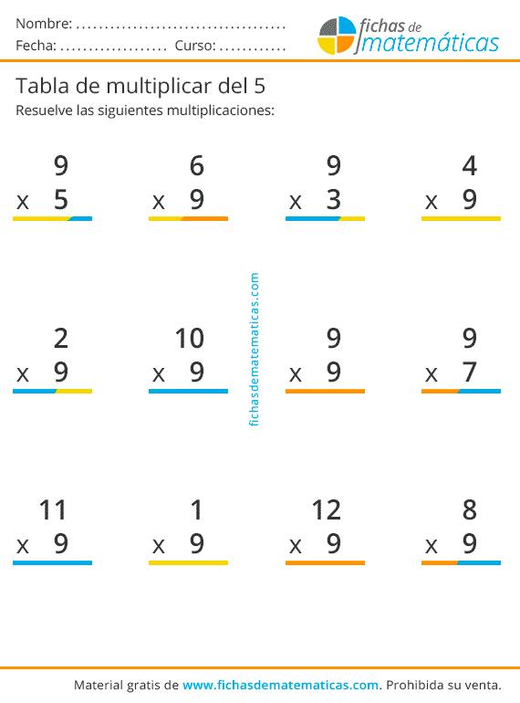 multiplicaciones tabla del 9