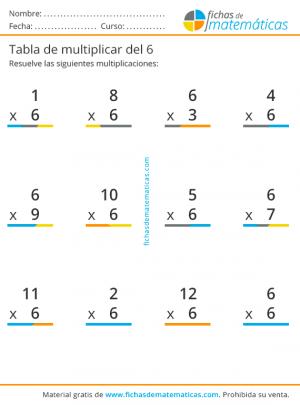 multiplicaciones tabla del 6
