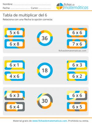 tabla de multiplicar del 6 fichas