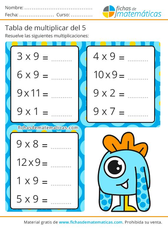 tabla multiplicar del 9